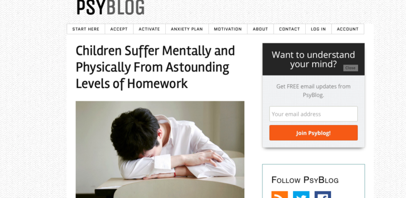 The impact of homework on children