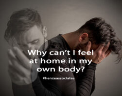 Title image for Abuse Counselling Calgary article showing how trauma splits a man into two parts.