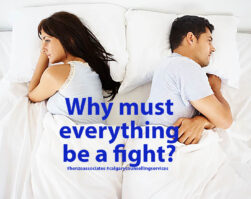 calgary counselling services article title image showing conflicted couple in bed with backs turned