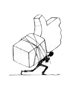 drawing of person struggling under a facebook like symbol tied on his back