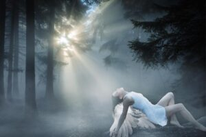 fantasy young woman with wings in erotic pose in mystical forrest
